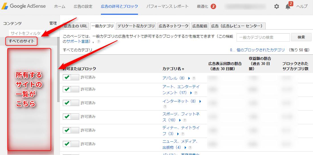 サイトの選択